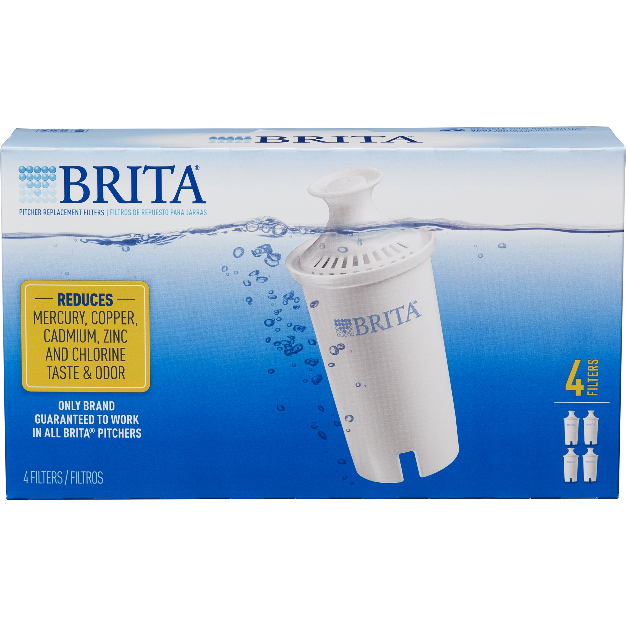 brita water filter pitcher advanced replacement filters 4 count bpa free walmartcom - Water Filter