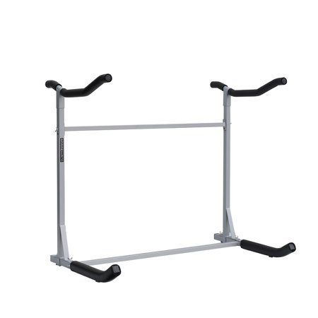 Sparehand Freestanding Dual Storage Rack for 2 Kayaks or SUPs, Tools-Free Assembly, Pebble Silver - Pebble Finish