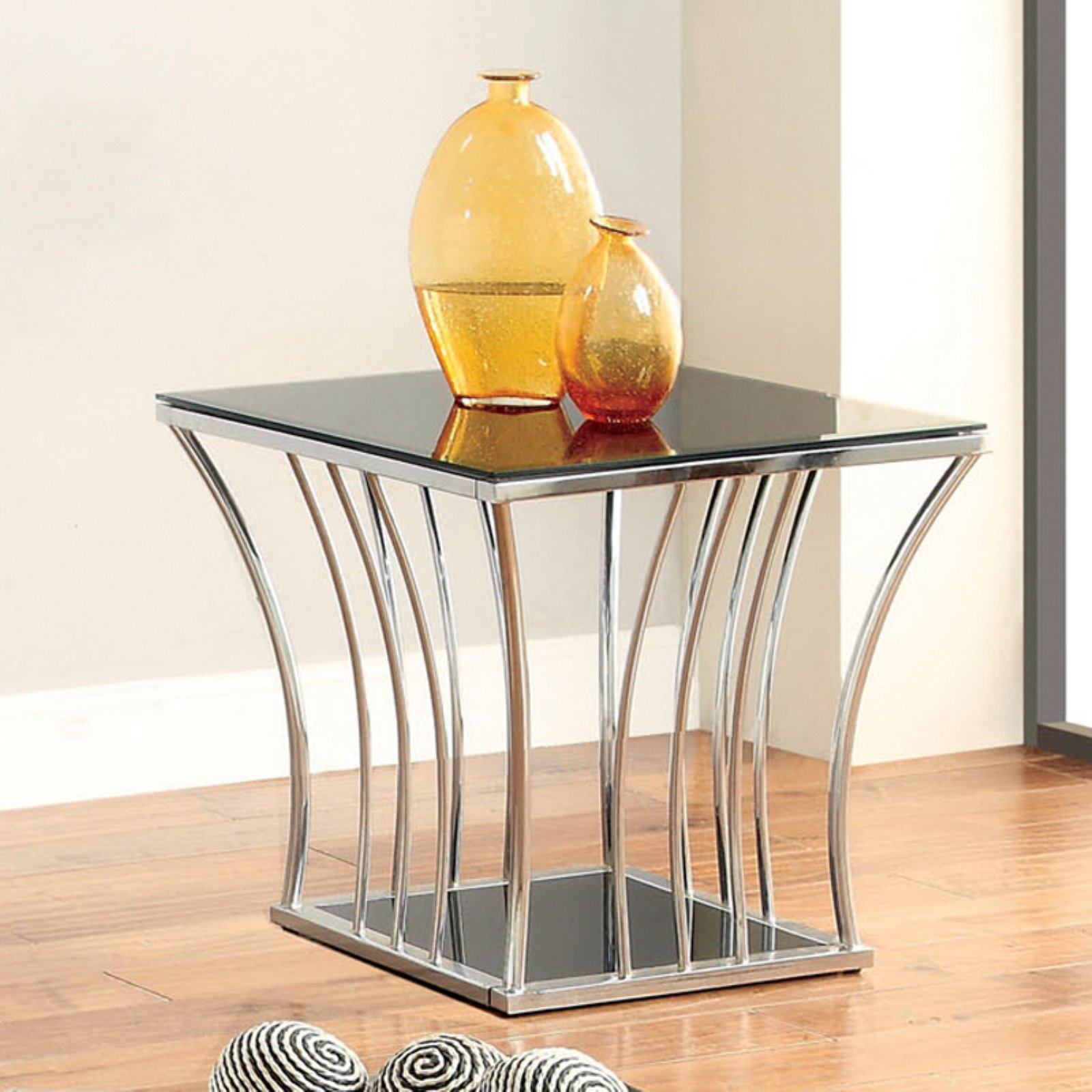 Furniture of America Arsoli Beveled Glass Top End Table - Chrome / Black