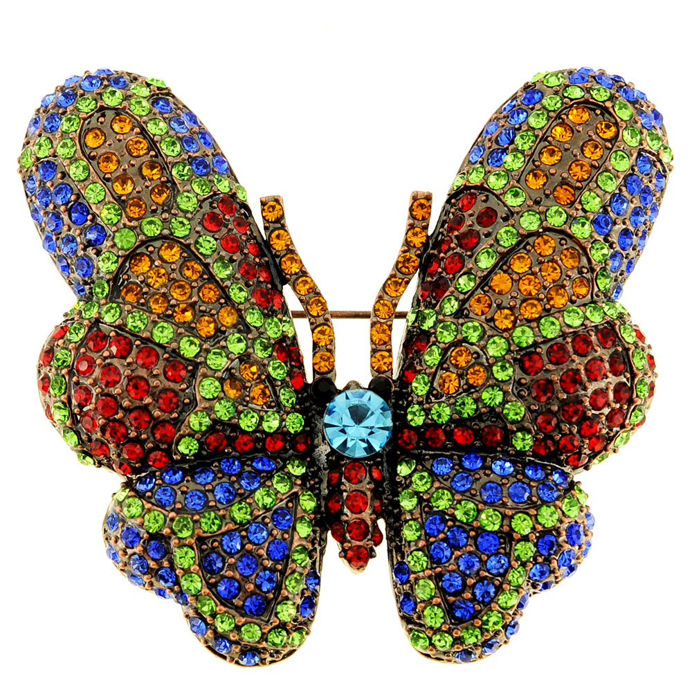 Multicolor Crystal Vintage Style Butterfly Pin Brooch by