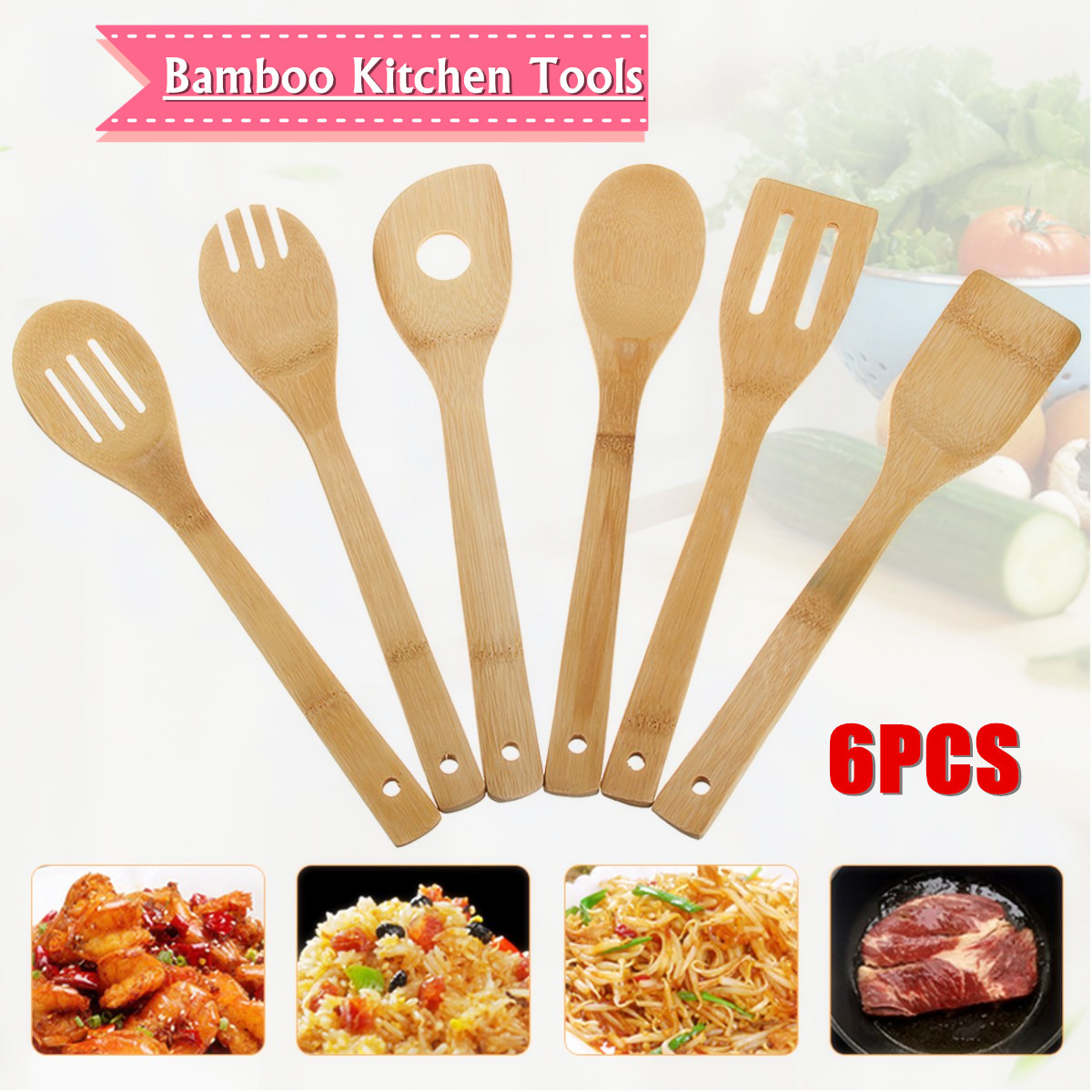 6Pcs Bamboo Kitchen Utensil Tools Slotted Spoons Spatula Cooking Mixing Set