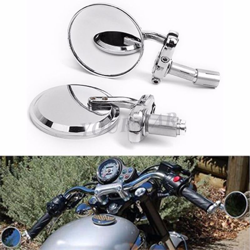 Chrome Motorcycle Round 7 8 Handle Bar End Rearview Mirrors For Honda Harley Us Walmart Com