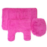 Fluff 3 Piece Faux Fur Bathroom Rug, Contour and Lid Cover Set