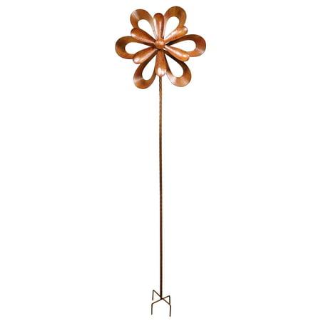 Alpine Rustic Metal 3D Garden Stake Windmill Spinner, 96 Inch Tall Garden Stake 3d Metal