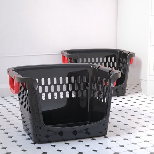 Symple Stuff Large Stacking Open Plastic Storage Bin (Set of 2)