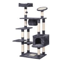 SmileMart 62 in Large Multi-Level Cat Tree Tower Condo & Scratching Post/Pad &Tunnel, Dark Gray