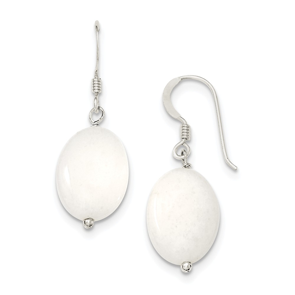 Sterling Silver White Mother of Pearl Earrings (1.2IN x 0.5IN )