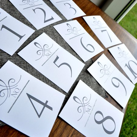 Table Numbers for Wedding Silver. Wedding Number Cards. Silver Table Numbers. Art Deco Table Numbers. 1-10. - Table Cards For Weddings