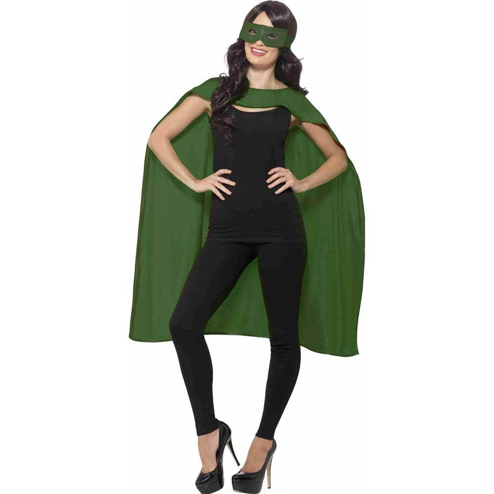 Green Unisex Superhero Cape Cloak With Eye Mask Costume Accessory