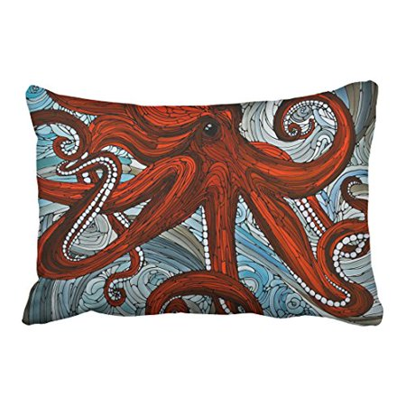 WinHome Red Huge Octopus Monster Blue And White Waves Decorative Pillowcases With Hidden Zipper Decor Cushion Covers Two Side 20x30 inches](Monster Pillows)