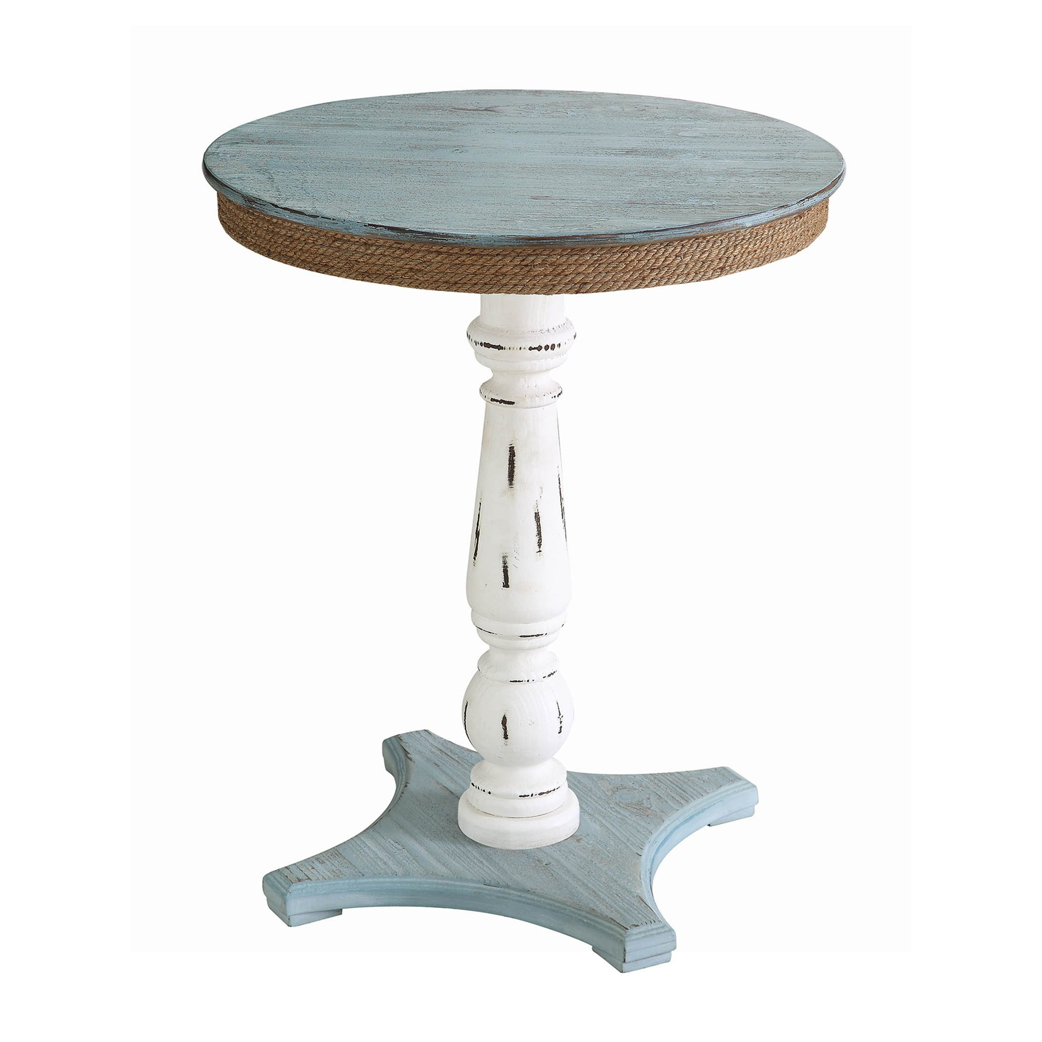 Sea Isle Two Tone Rustic Coastal Wood and Rope Apron Accent Table by Crestview Collection