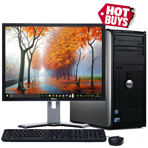 "Dell Desktop PC Tower System Windows 10 Intel Core 2 Duo Processor 4GB RAM 160GB Hard Drive DVD Wifi with a 17"" LCD - Refurbished Computer"