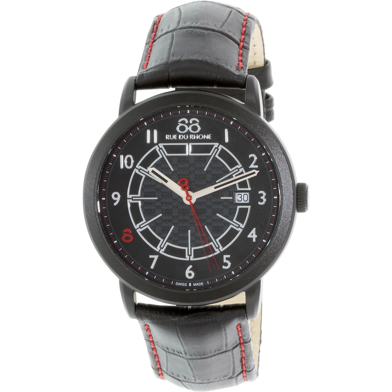 Image of 88 Rue Du Rhone Men's 87WA144204 Black Leather Swiss Quartz Dress Watch