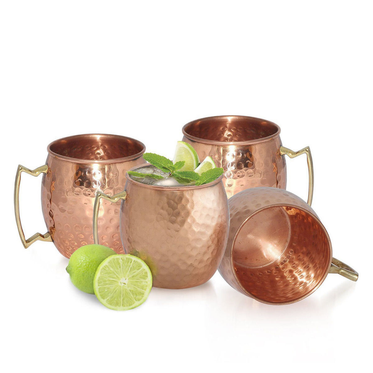 4 moscow mule mug cup drinking hammered copper brass steel gift set 16oznew - Moscow Mule Copper Mug