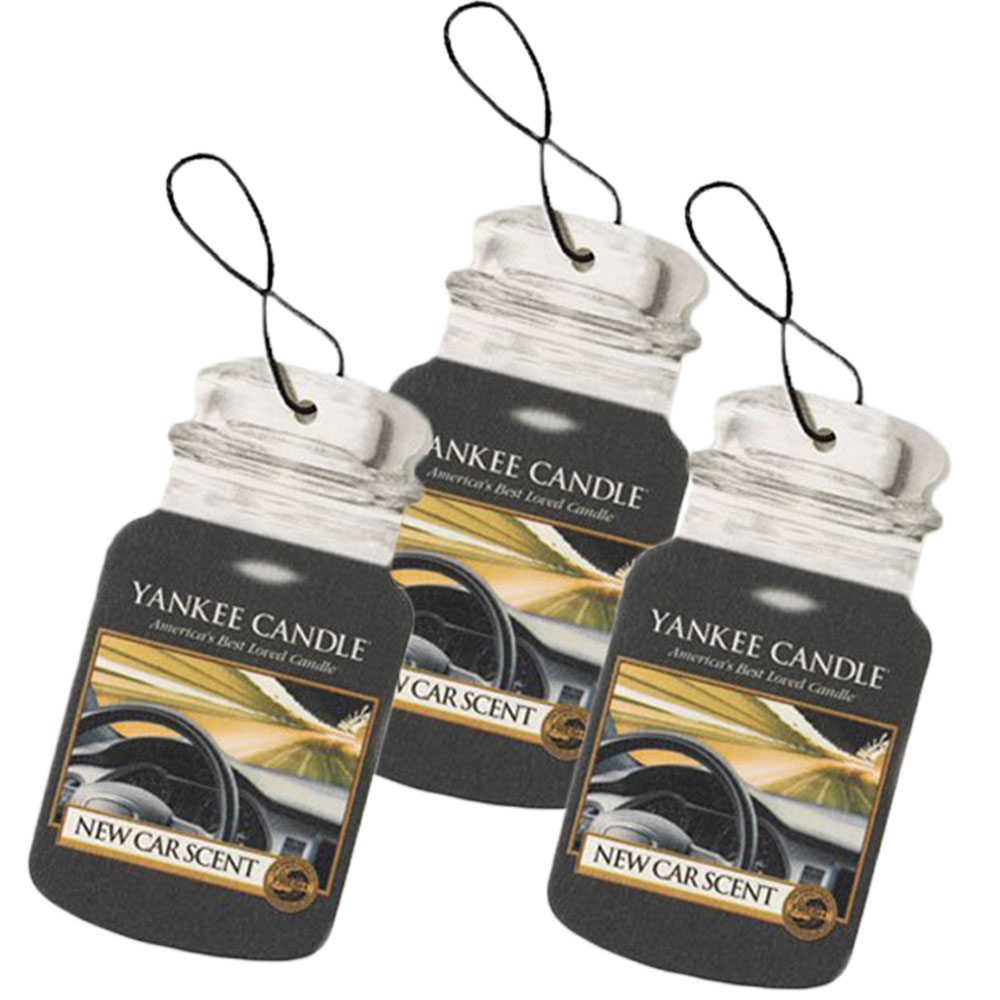 Yankee Candle Classic Paper Car Jar Hanging Air Freshener, New Car Scent 3-Pack
