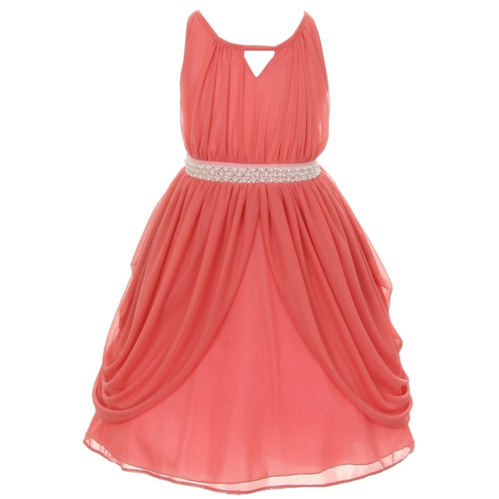 Girls Coral Chiffon Pearl Sash Flower Girl Special Occasi...