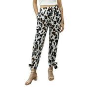 Selfieee Women's Leopard Premium Pleated Elastic Waist Palazzo Pants Split 10039 White Small