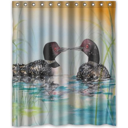HelloDecor Loon Birds Shower Curtain Polyester Fabric Bathroom Decorative Size 60x72 Inches