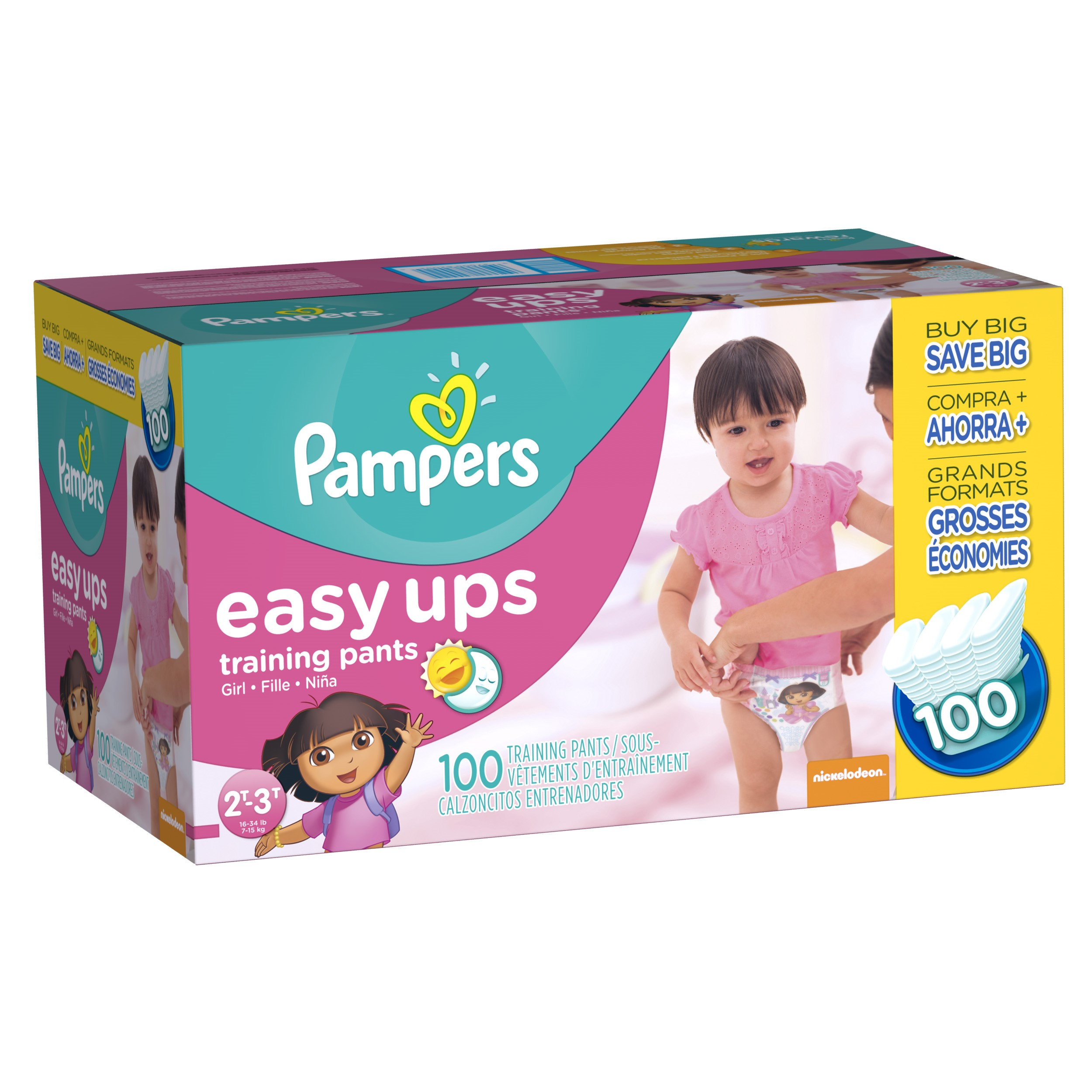 Pampers Easy Ups Girls Training Pants, Size 2T-3T, 100 Pants