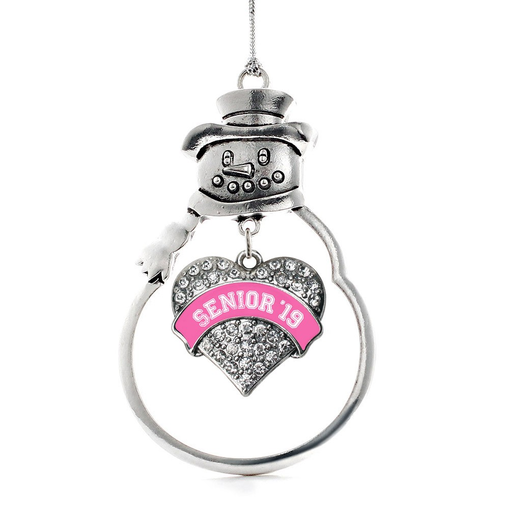 Pink Senior 2019 Pave Heart Snowman Holiday Ornament