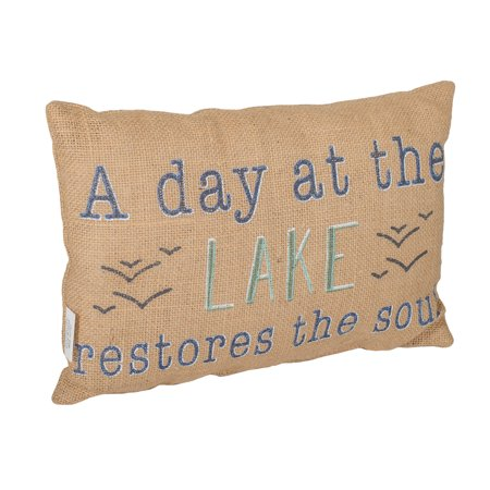 Day Lake Restores Soul 12 x 8 Burlap Decorative Throw Pillow ()
