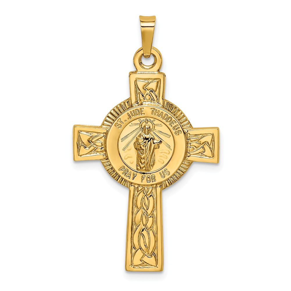 14k Yellow Gold Cross with St. Jude Medal Pendant - Walmart.com