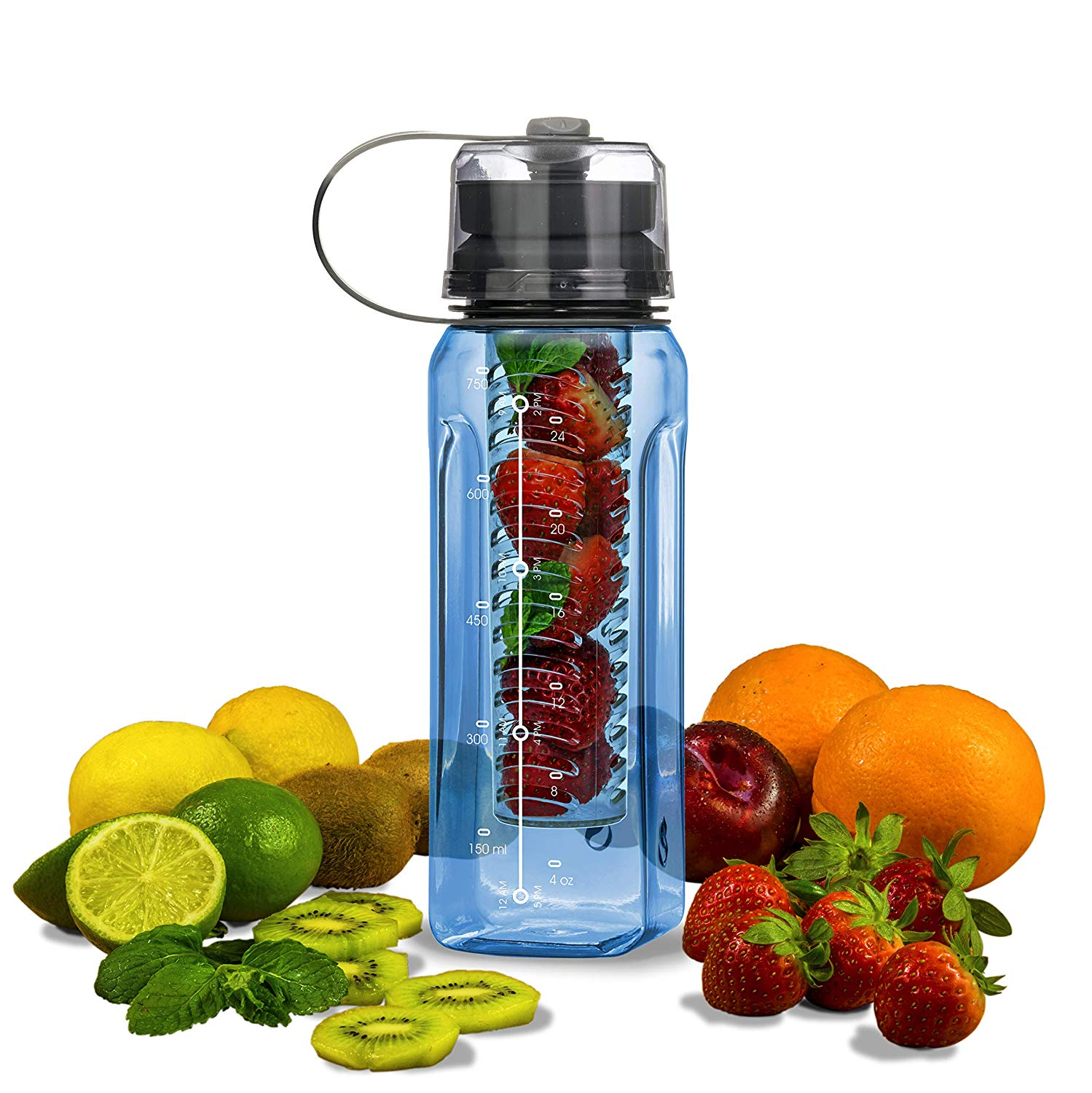 Fruit Infuser Tritan Material Water Bottle Filter Water Bottle BPA Free All-in-ONE Addition Water Cup /& Pill Box Addition - Bottle Carrier Cooler Blender Bottle Luxury Series