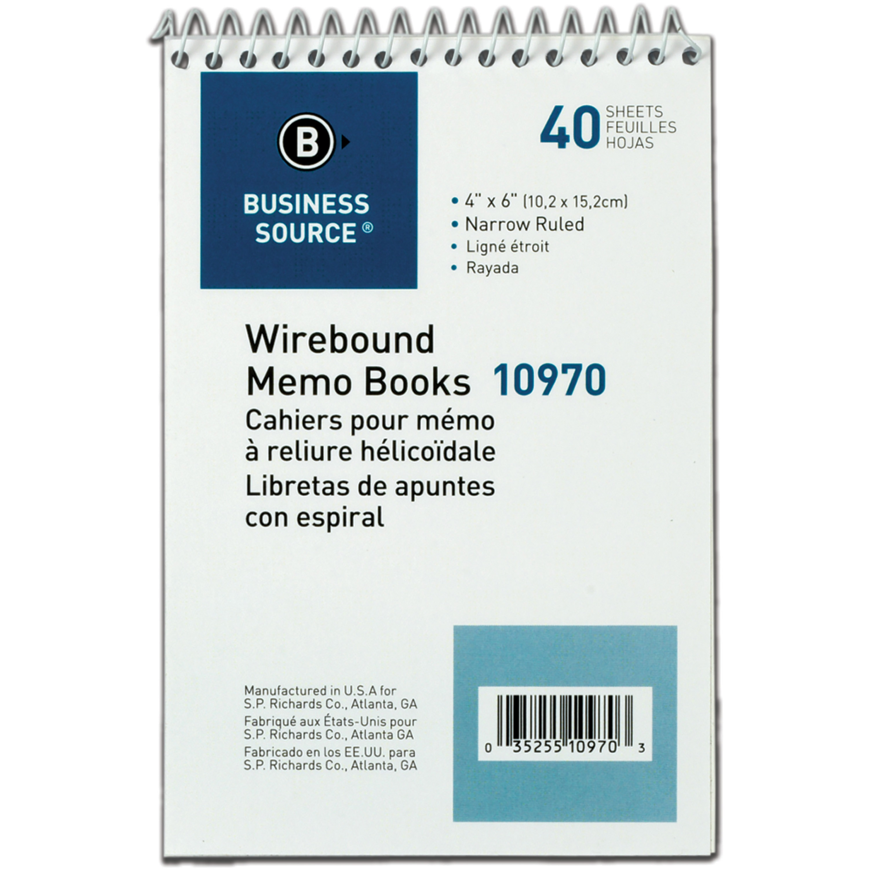 Business Source, BSN10970, Wirebound Memo Books, 1 Dozen, White