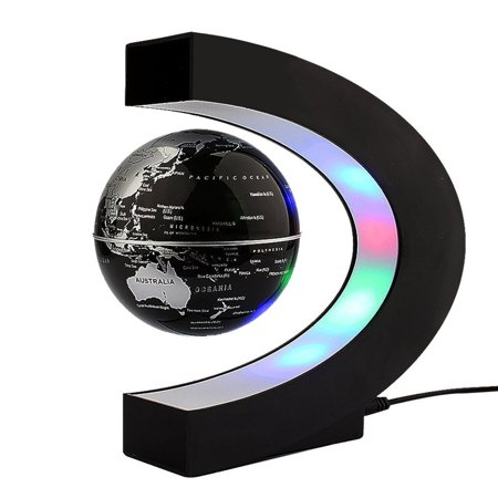 floating globe with colored led lights c shape anti gravity magnetic levitation rotating world map office