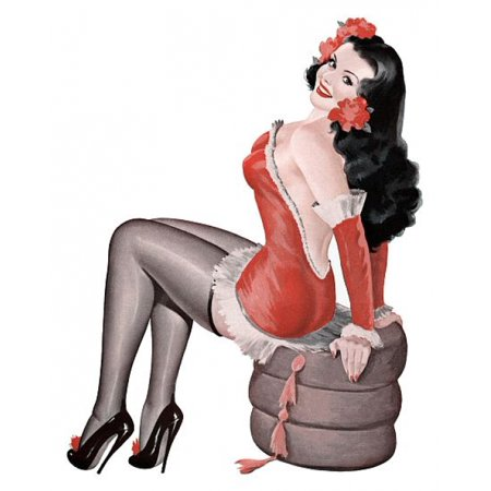 Pin Up Girl Brunette In Red Outfit Poster Print for $<!---->