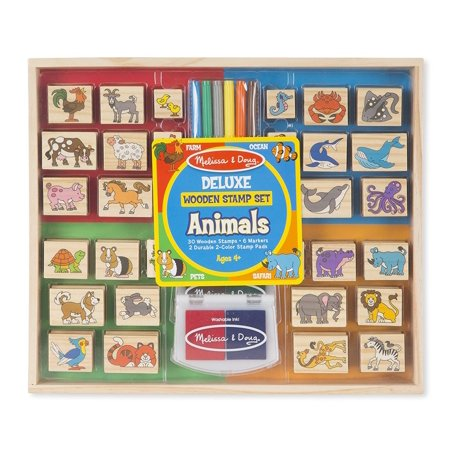 Melissa & Doug Deluxe Wooden Stamp Set: Animals - 30 Stamps, 6 Markers, 2 Stamp