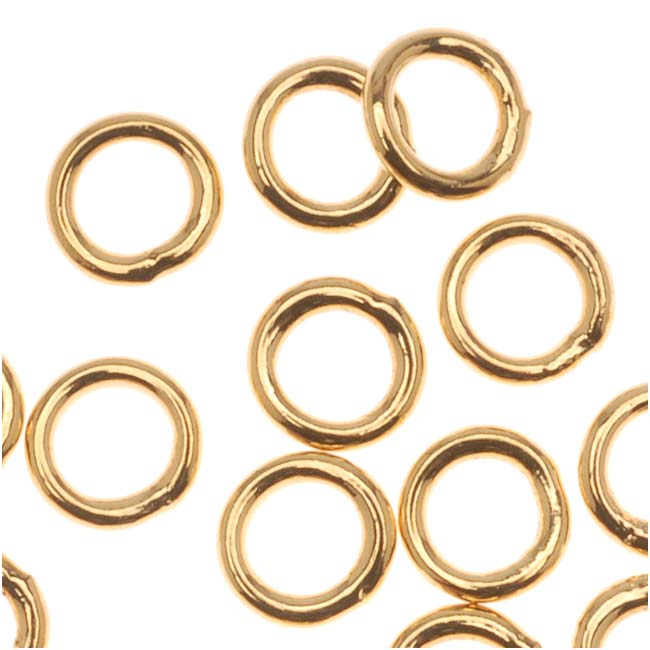 22K Gold Plated Closed 5mm Jump Rings 19 Gauge (20)