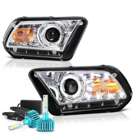 [For 2010-2012 Ford Mustang Halogen Model] LED Strip Halo Ring Projector  Headlight Headlamp Assembly, Sequential Turn Signal, Driver & Passenger Side