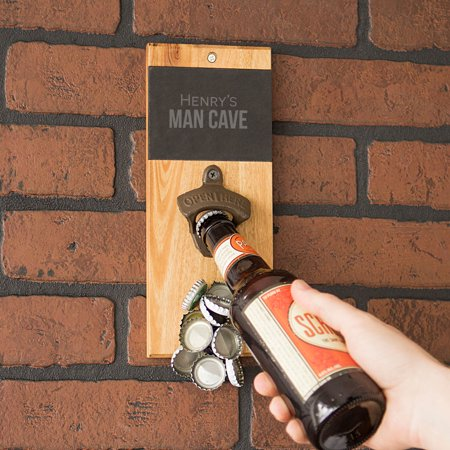 Personalized Slate & Acacia Wall Mount Bottle Opener with Magnetic Cap (Wall Mounted Bottle Opener With Magnetic Cap Catcher)