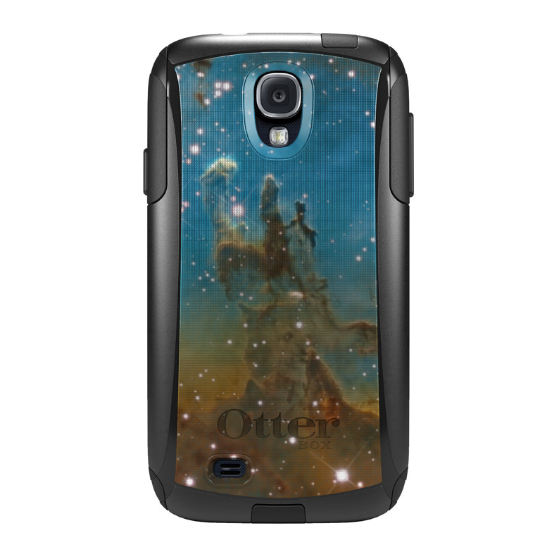 DistinctInk™ Custom Black OtterBox Commuter Series Case for Samsung Galaxy S4 - Eagle Nebula Blue Green
