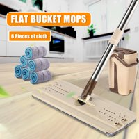 Wet & Dry Self Cleaning Drying Self Wringing Mop Bucket Flat Floor Free Hand Washing Mop Squeeze Flat Mop with 6 Microfiber Pads for Wooden Foors, Bathrooms and Kitchens