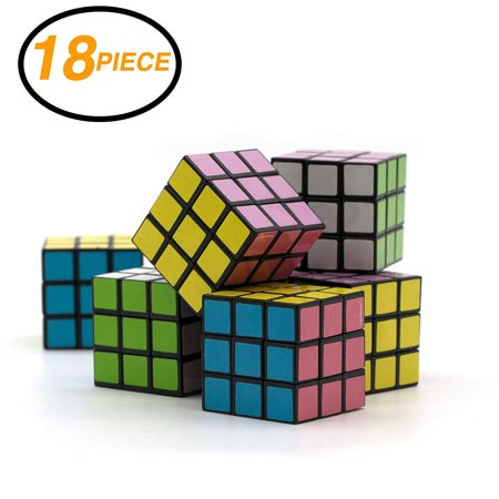 Ram-Pro 18 Pieces Set of Party Favors Puzzle Mini Cube Bundled - Speed Cube Puzzle Children Gift Magic Cube Puzzle Toy, Brain Training Game Rubik's Speed Cube 3 x 3 - Return Gifts For Kids
