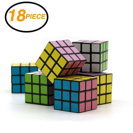 Ram-Pro 18 Pieces Set of Party Favors Puzzle Mini Cube Bundled - Speed Cube Puzzle Children Gift Magic Cube Puzzle Toy, Brain Training Game Rubik