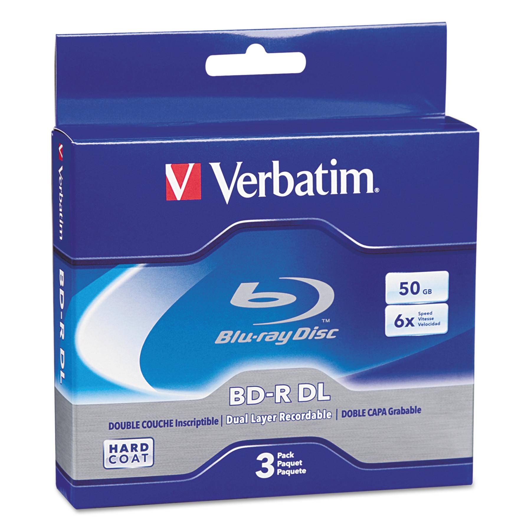Verbatim Blu-Ray BD-R Dual-Layer, 50 GB, 3/Pk -VER97237