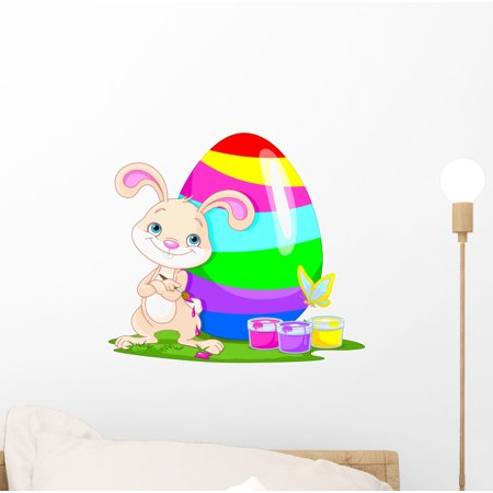 Cute Bunny and Easter Wall Decal Sticker by Wallmonkeys Vinyl Peel and Stick Graphic for Girls (12 in W x 11 in H) - Rocket Bunny Sticker