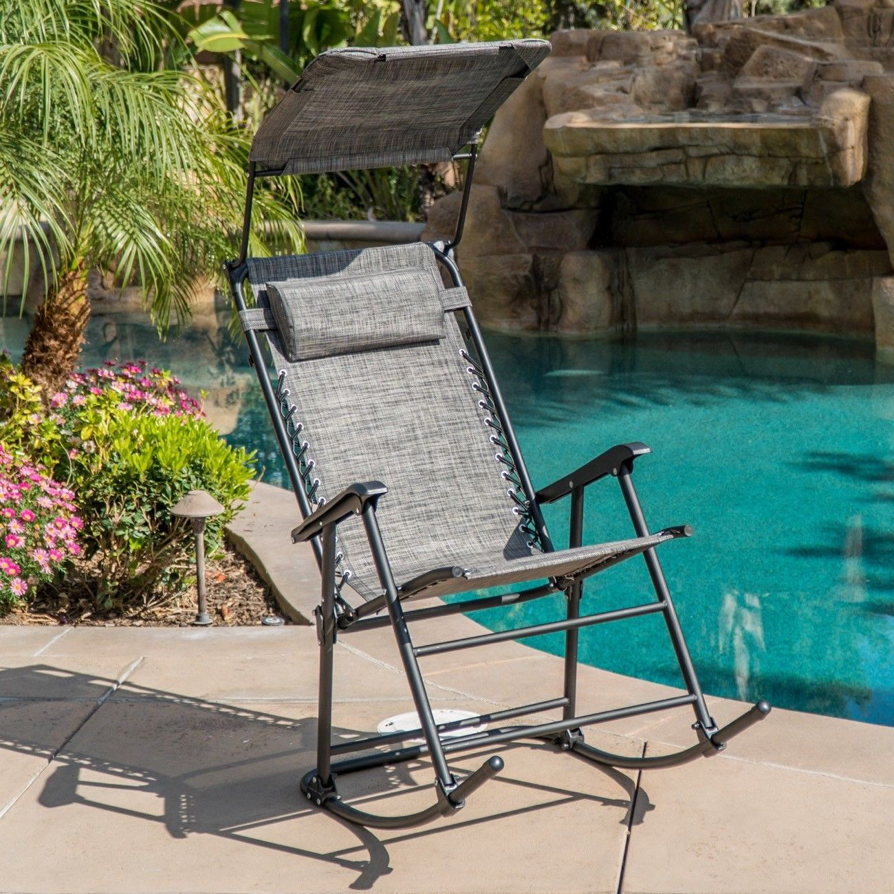 GHP 330-Lbs Weight Capacity Dark Grey Steel Frame Rocking Chair with Sunshade Canopy