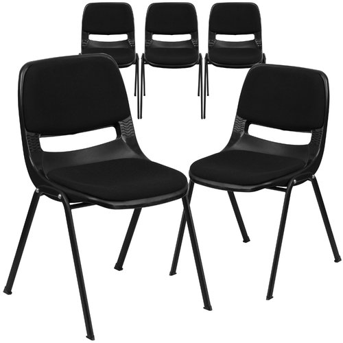 Flash Furniture 5pk HERCULES Series 880 lb. Capacity Black Ergonomic Shell Stack Chair with Padded Seat and Back