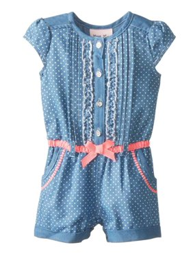 Little Lass Infant Girls Denim Short Sleeved Romper Outfit 12 Months