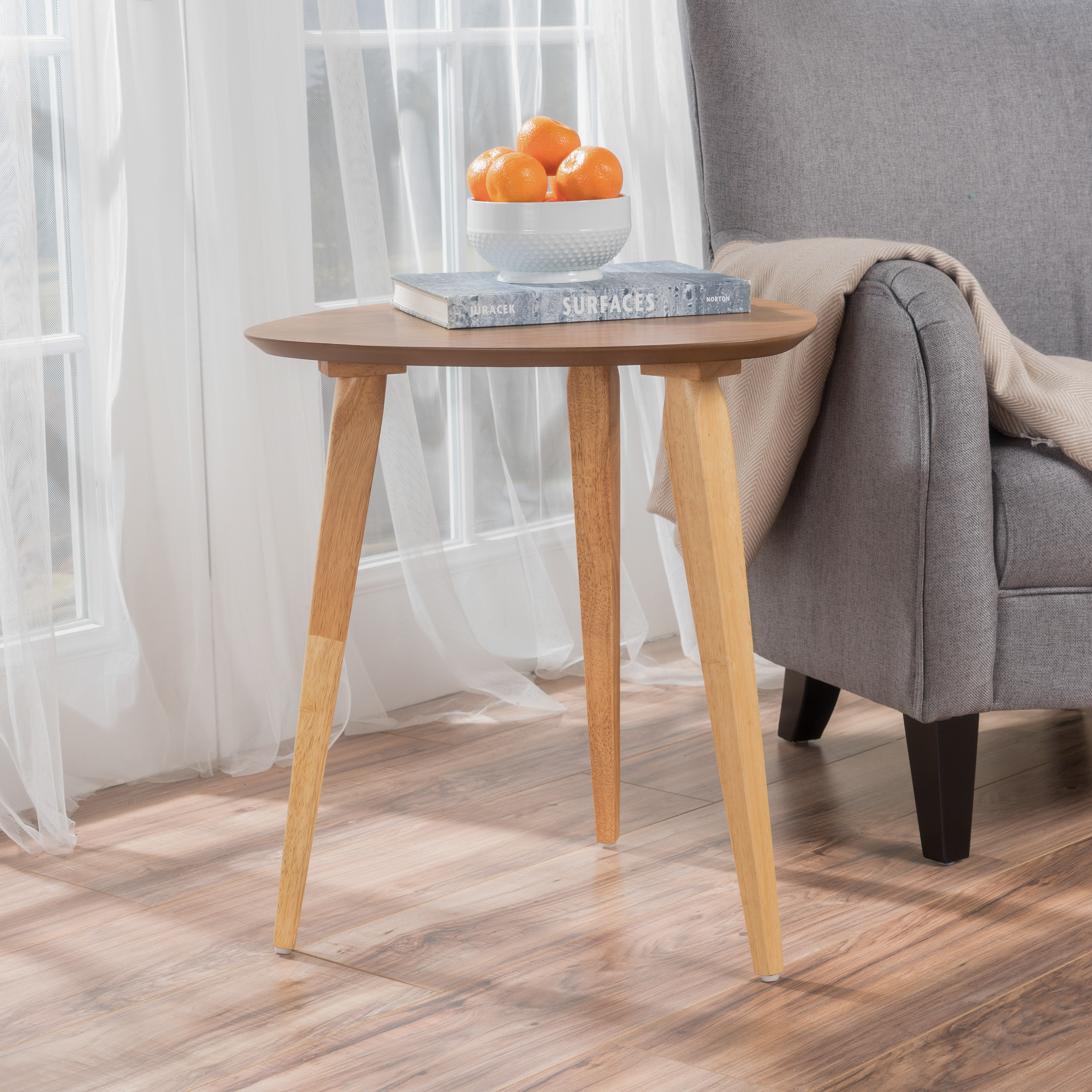 Noble House Aisha Modernistic Designed Rubberwood End Table, Natural