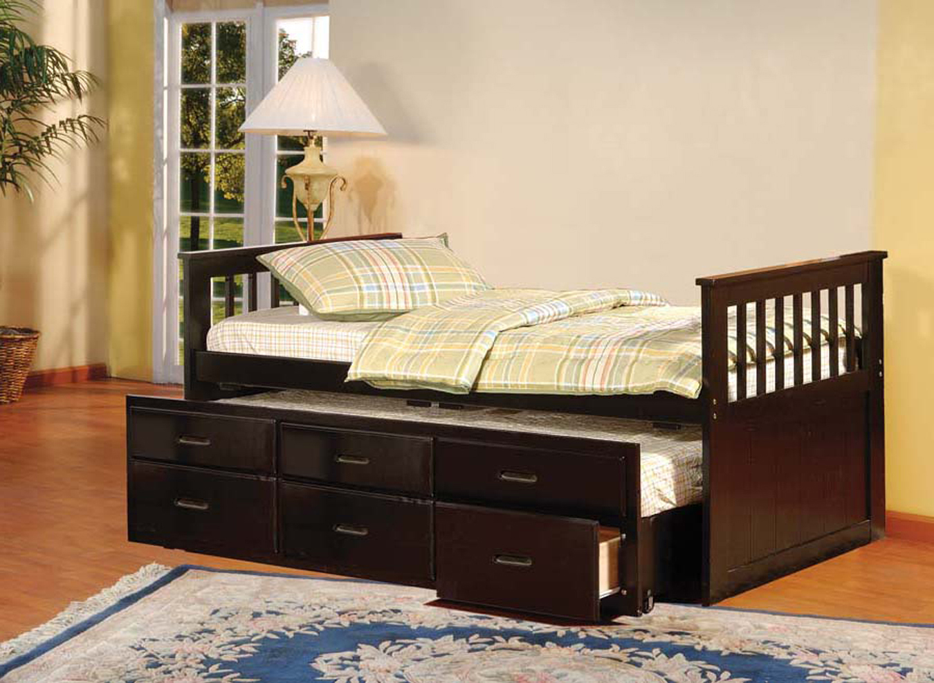 twin size espresso finish wood captain slat daybed with trundle u0026 2 underbed storage drawers