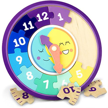 Imagination Generation Day & Night Teaching Clock, Reversible Wooden Jigsaw | Montessori Toy