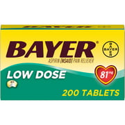 Aspirin Regimen Bayer Low Dose Pain Reliever Enteric Coated Tablets, 81mg, 200 Ct