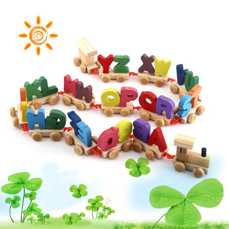 Fashionable Colorful Wooden Letters Train Educational Alphabetical Assemble Toy Set Plaything, Letters Toy, Train Toy