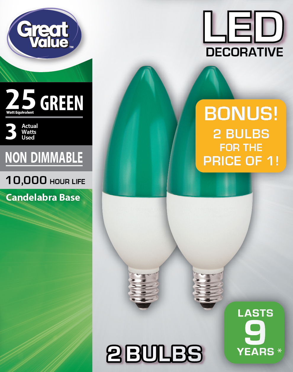 Great Value Led Light Bulb 3w 25w Equivalent B11 Decorative Lamp E12 Candelabra Base Non Dimmable Green 2 Pack