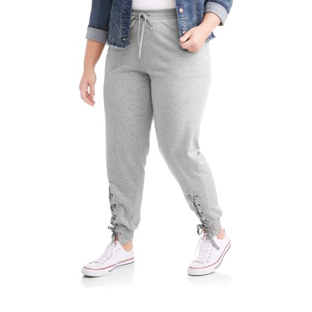 Paper Tee Junior's Plus Side Lace Up Athleisure Jogger